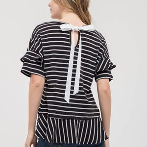 Black white striped top with ribbon tie on back